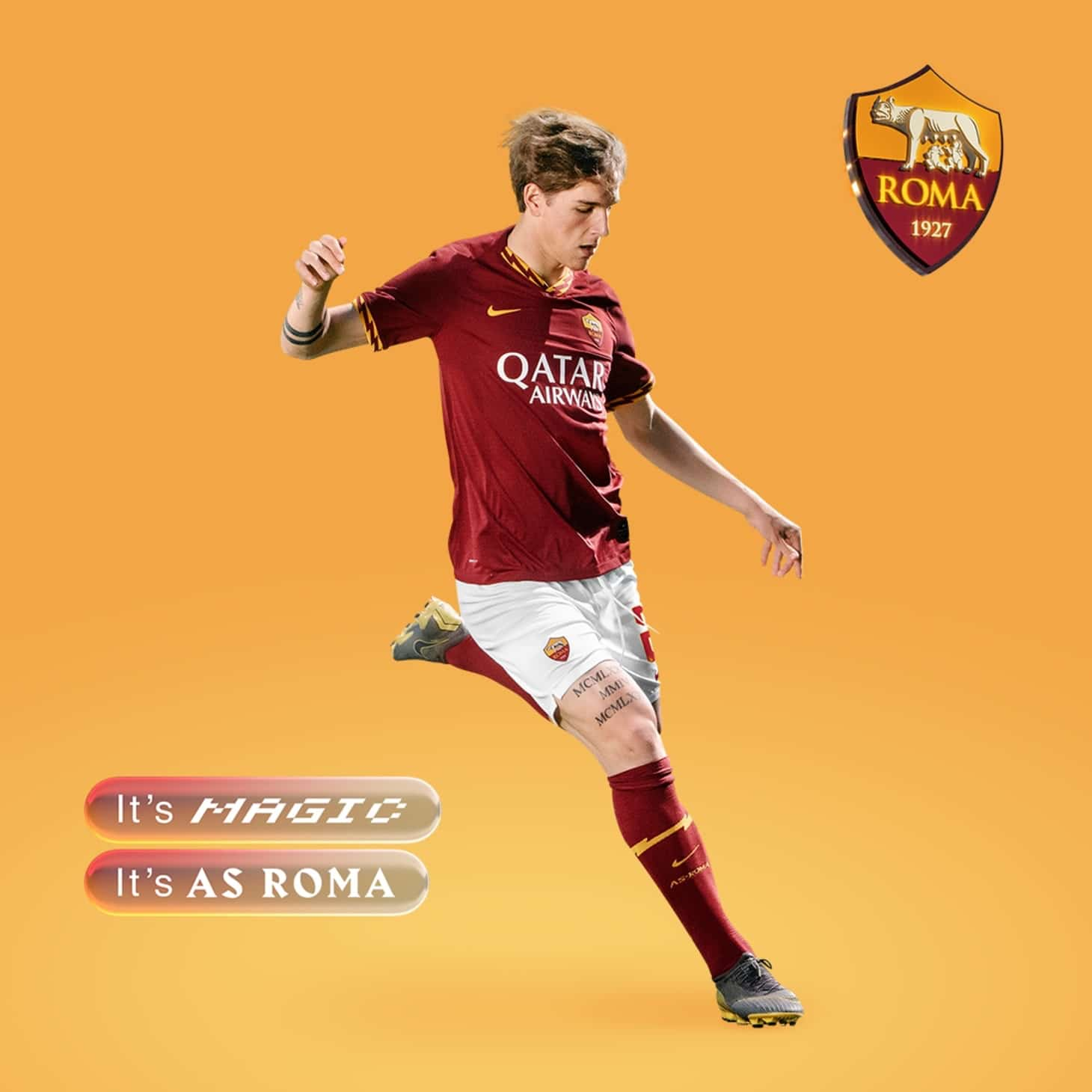 Nike 2019-20 AS Roma Home Kit 2019-20